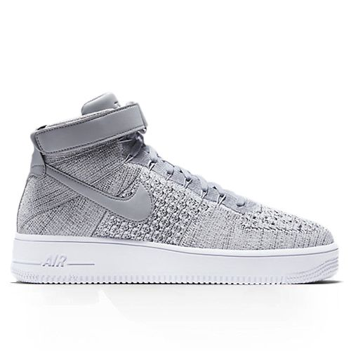 NIKE AIR FORCE 1 ULTRA FLYKNIT MID WOLF GREY ON FOOT