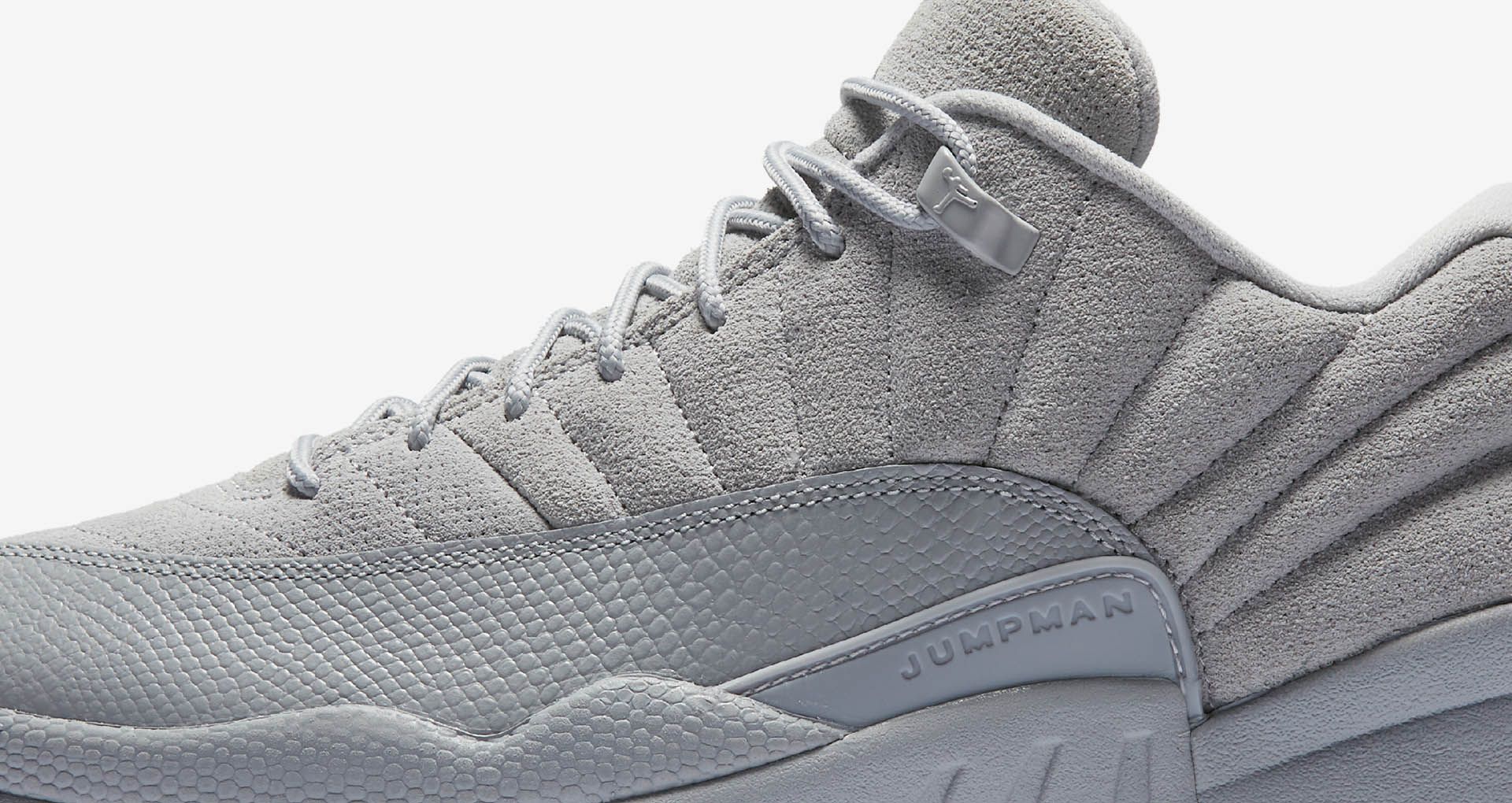 finest selection 4fe87 f5756 A tonal Wolf Grey colorway highlights the distinctive design lines and  balance of textures that made the Air Jordan XII a favorite.